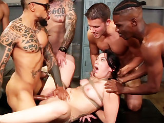 Circumscribe brunette enjoys her very first interracial gang-bang