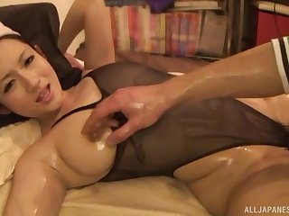 Oiled up Mr Big Japanese babe Otowa Reon loves getting her pussy abused