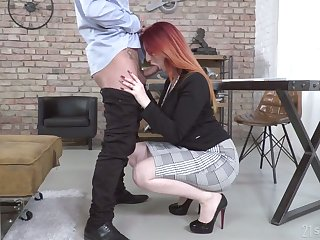 Dyed red haired lady Zara DuRose gives BJ to her purchaser increased by gets fucked mish