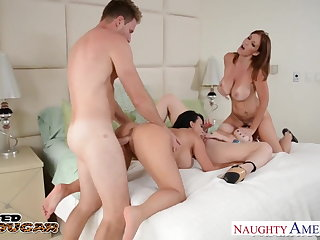 Cougars Charlee Chase, Holly Halston and Sara Feather-brain fucking