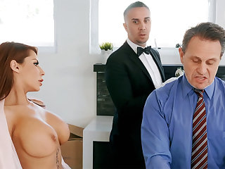 Horny butler is ready roughly anal fuck housewife