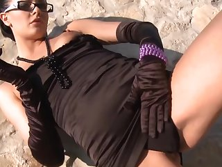 Euro gal in the matter of glasses with the addition of gloves is a naughty cocksucker