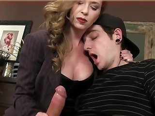 Bossy Domina T jerking jism about fetish spandex gloves