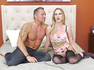 Tattooed blonde MILF Jenna Jones rides a hard blarney in stockings