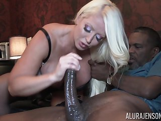 Busty blonde Alura Jenson fucked and creampied off out of one's mind an older black guy