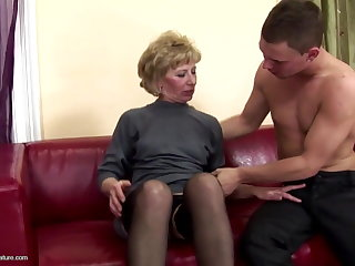 Hairy mature mom ass fucked and boozed on