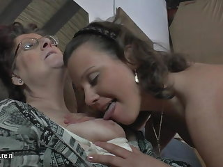 Natural crude 3 old and young lesbians be wild about each backup