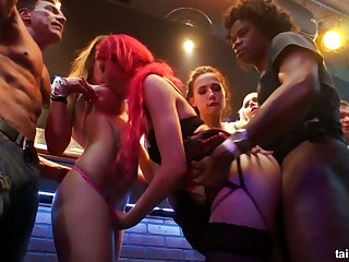 Oversexed chick Tiffany Doll goes wild at the party hardcore