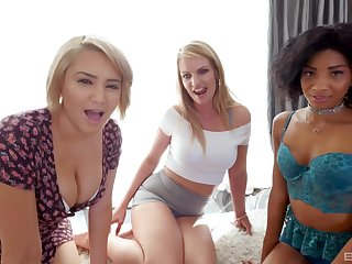 Interracial foursome with September Reign and her friends on one guy