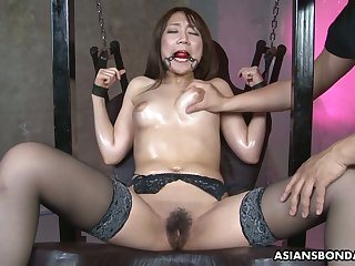 Ardent and emotional Jap demoiselle Ryo Akanishi gets pussy stretched with toys
