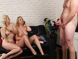 Femdom blondes strip off