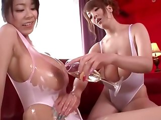 Hitomi Tanaka Ria Sakuragi Oil Up Their Beamy Jugs with the addition of Suck Some Cock