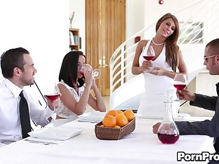 The kinkiest foursome with Dillion Harper coupled with brunette MILF