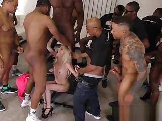 Skinny blonde sucks BBC increased by gets bukkaked
