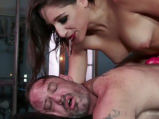 Dude becomes the attendant Abella wants and go wool-gathering woman loves pegging him hard