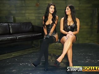 Big pain more the neck babe with conceitedly tits enjoying some strap on have sexual intercourse more the dungeon