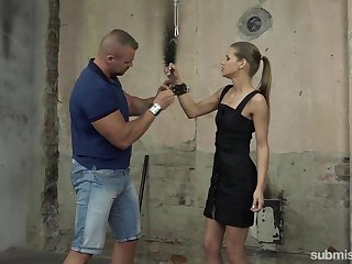 Obedient Czech hooker Sarah Kay is handcuffed increased by processed rather hard