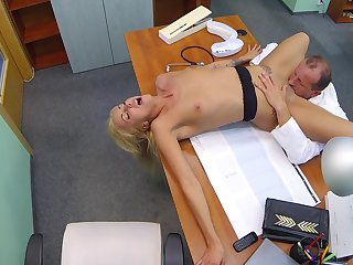Hot blonde obedient and fucked wits older doctor with huge dick