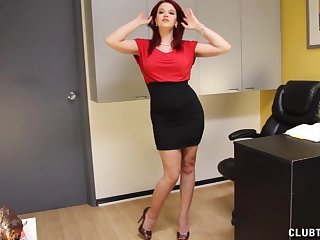 Office handjob with redhead pornstar Sarah Blake on the top of will not hear of knees