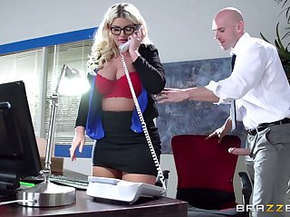 Boss lady Julie Cash fucked in the office by say no to male assistant