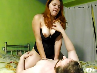 Once redhead piece of baggage gets him completely erect, she will let him fuck her hard