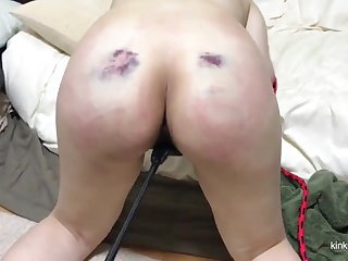 My girlfriend gets a real hard punishment with the whip while she sucks my dick.
