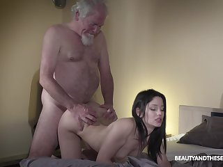 Old grey bearded gets woken about with sex and what a downcast mistress he's got