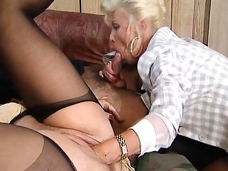 Hot and horny flaxen-haired mature fucked and fisted in excess of wainscoting