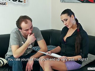 Professional cock pleaser makes an amateur guy lick her pussy