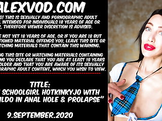 Sexy schoolgirl Hotkinkyjo dildo in anal hole & prolapse