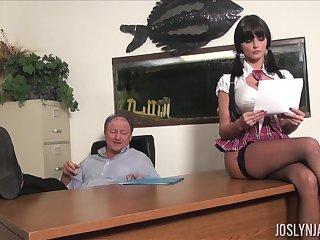 Lustful university chick gets all kinds of dirt on her old professor