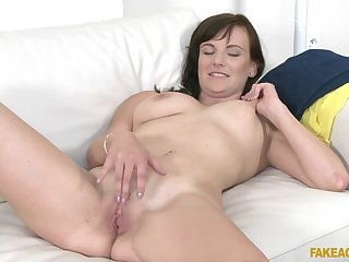Making out during fake casting with amateur cougar Gabi Mavali