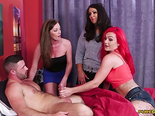 Egregious model Holly Nuzzle and her friends suck one large cum Saturday-night special
