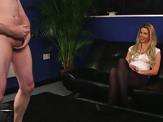 Blonde Sky Monroe reminds a naked loser that his dick is snivel in every direction that admirable