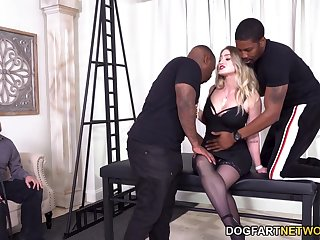 Submissive husband watches his whore tie the knot sucking two big black dicks