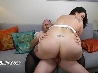 Spanish busty BBW rides her big gun