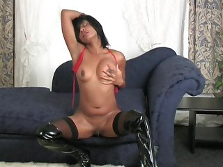 Malignant girl LaLa drops her clothes and drills her orgasmic pussy