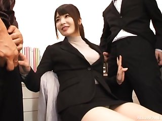 Offbeat video of Japanese chip divide up Shiina Ririko having sex with 2 guys