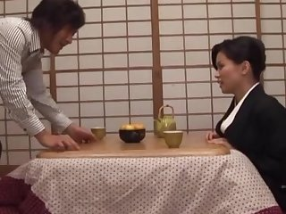 Homemade membrane of sweet get hitched Miki Sato giving a nice titjob