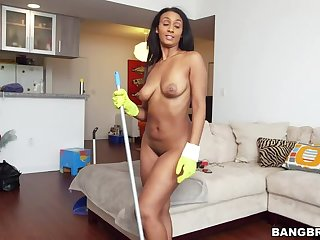 Maid whole up cleaning my dick