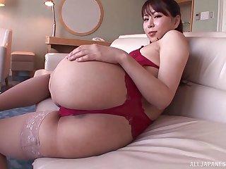 Curvy Asuza Akane giving their way guy stunning blowjob