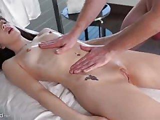 Aliya Brynn orgasms on the massage table