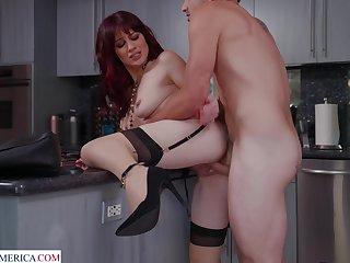 Small boobs redhead Jessica Ryan moans during wild fucking