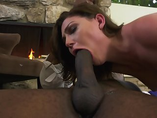 Jessica Rex has interracial sexual congress take effect at fireplace
