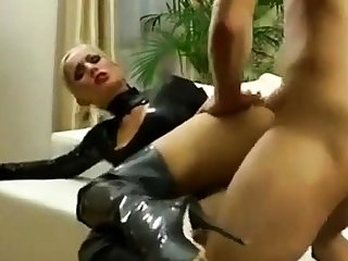 Blonde latex unskilful fucked